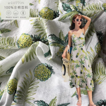 Fabric / fabric / handmade DIY fabric cotton White pineapple (half meter price) Loose shear piece Plants and flowers printing and dyeing clothing Countryside 100%