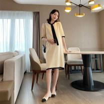 Dress Other / other Apricot, black Average size Korean version Short sleeve Medium length summer other Solid color