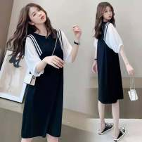 Dress Other / other Black [high quality fabric] M,L,XL,XXL Korean version Short sleeve Medium length summer Crew neck Solid color Space cotton