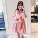 Dress Other / other Pink M,L,XL,XXL Korean version elbow sleeve Medium length summer V-neck Solid color Cotton and hemp