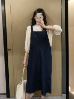 suit Other / other Apricot Princess half neck + blue trousers x3048, blue skirt x3048 M,L,XL,XXL Korean version Long sleeve + skirt spring and autumn Solid color Denim