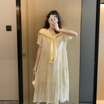 Dress Other / other Short sleeve yellow floral skirt [yellow knitted shawl], long sleeve yellow floral skirt [yellow knitted shawl] Average size Korean version Short sleeve have more cash than can be accounted for spring Crew neck Decor Chiffon