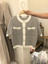 Wool knitwear Summer 2021 S,M,L,XL grey Short sleeve singleton  Cardigan other 31% (inclusive) - 50% (inclusive) Regular routine commute Straight cylinder Low crew neck routine Single breasted Korean version 18-24 years old
