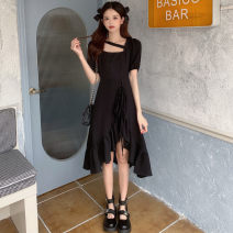 Women's large Summer 2021 Black temperament Big XL, big XXL, big XXXL, big XXXXL, big L, m, s Dress singleton  commute easy Socket Short sleeve Solid color Crew neck Three dimensional cutting puff sleeve 25-29 years old wave 96% and above longuette Ruffle Skirt zipper