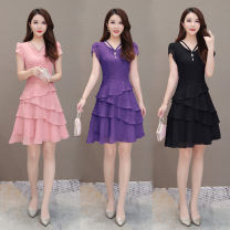Dress Summer 2020 Purple, black, pink M,L,XL,XXL,XXXL Mid length dress singleton  Short sleeve commute Crew neck High waist Solid color Socket Cake skirt other Others 18-24 years old Other / other Korean version fungus More than 95% Chiffon polyester fiber