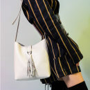 Bag The single shoulder bag cowhide Bucket bag kayden plus Snow velvet white, polar night black brand new Japan and South Korea Small leisure time soft Magnetic buckle no Solid color Single root One shoulder cross nothing youth Bucket shaped tassels canvas K0042 Open your pocket cowhide