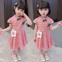 Dress Pink female Other / other 80cm,90cm,100cm,110cm,120cm,130cm Other 100% summer Chinese style Short sleeve lattice cotton Splicing style Class B 12 months, 3 years, 6 years, 18 months, 2 years, 5 years, 4 years, 12 years, 7 years Chinese Mainland Zhejiang Province Huzhou City