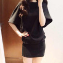 Dress Summer 2021 black S,M,L,XL Short skirt singleton  elbow sleeve commute Crew neck middle-waisted Solid color Socket One pace skirt Bat sleeve Others Type A Other / other Korean version 51% (inclusive) - 70% (inclusive) other