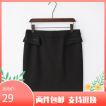 skirt Spring of 2019 M,L,XL,2XL,3XL,4XL black Short skirt commute Natural waist Solid color C124001W 91% (inclusive) - 95% (inclusive) polyester fiber Ol style