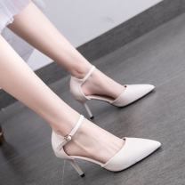 Low top shoes 32,33,34,35,36,37,38,39,40,41,42 Other / other Pure white high heel 7cm, black high heel 7cm, pure white low heel 5cm, black low heel 5cm, off white low heel 5cm, off white high heel 7cm Sharp point PU Fine heel High heel (5-8cm) Shallow mouth PU Spring 2020 Flat buckle commute rubber
