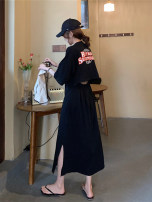 Women's large Summer 2020 Black, apricot Dress singleton  commute Short sleeve letter Korean version Crew neck other routine backless Medium length
