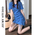 Dress Summer 2021 blue M,L,XL,2XL,3XL,4XL Middle-skirt singleton  Short sleeve commute Crew neck High waist letter Socket A-line skirt routine Others 18-24 years old Type H Retro Embroidery