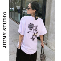 T-shirt White, black S,M,L Summer 2021 Short sleeve Crew neck easy Regular routine commute cotton 96% and above