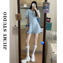 Dress Summer 2021 Blue dress S, M Middle-skirt singleton  Short sleeve commute Doll Collar High waist Solid color Socket Princess Dress puff sleeve 18-24 years old Type A Korean version Lotus leaf edge 81% (inclusive) - 90% (inclusive)