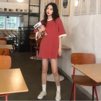 Dress Summer 2020 Off white, watermelon red, black Average size Short skirt singleton  Short sleeve commute Crew neck Loose waist Solid color Socket routine 18-24 years old Type H Other / other Korean version 31% (inclusive) - 50% (inclusive)
