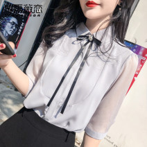 Lace / Chiffon Summer of 2019 Light blue white 8918 black 9212 white 9212 blue 9248 red 550 red S M L XL 2XL Short sleeve commute Socket singleton  easy Regular Crew neck Solid color shirt sleeve 25-29 years old Yu Wei's love YWL520129794 Bow, ruffle, lace up, stitching, strap button 3D Other 100%