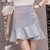 skirt Spring of 2019 S M L XL Short skirt Versatile High waist A-line skirt Solid color Type A 25-29 years old More than 95% Yu Wei's love other Ruffle zipper stitching Other 100% Pure e-commerce (online only)