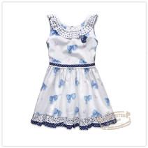 Dress blue female E·LAND KIDS 110cm,120cm,130cm,140cm,150cm,160cm Cotton 100% summer ethnic style Skirt / vest Pure cotton (100% cotton content) A-line skirt