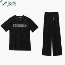 Women's large Summer 2021 black L XL 2XL 3XL 4XL 5XL Other oversize styles Two piece set commute Straight cylinder moderate Socket Short sleeve Korean version Crew neck routine cotton Three dimensional cutting other A214023 Fine posture 40-49 years old pocket 81% (inclusive) - 90% (inclusive)