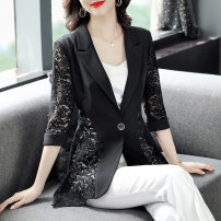Women's large Spring 2021 black M L XL 2XL 3XL 4XL Dress singleton  commute Self cultivation moderate Socket Long sleeves Solid color Korean version V-neck routine polyester fiber Three dimensional cutting routine J213045 Fine posture 40-49 years old Other 100% Pure e-commerce (online only)
