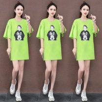 Women's large Summer 2021 The fruit is green, yellow, gray and white M L XL T-shirt singleton  commute easy moderate Socket Short sleeve Solid color Korean version Crew neck Medium length routine SH298*IqiJa Jingjing forest Resin fixation Cotton 95.1% polyurethane elastic fiber (spandex) 4.9%