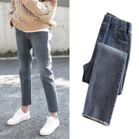 Women's large Spring 2021 9324 # retro grey, 9325 # high quality blue, 9326 # high quality blue Large XL, large XXL, large XXL, large XXXXL, large XXXXL trousers singleton  Straight cylinder moderate Solid color Denim, cotton Hand abrasion pocket