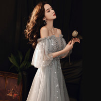 Dress / evening wear The company's annual convention performs daily appointments Customized XS S M L XL XXL Yxsz200915 gray princess longuette middle-waisted Winter 2020 Fluffy skirt One shoulder zipper 18-25 years old YXSZ200915 Solid color Ishowentry pagoda sleeve Other 100%