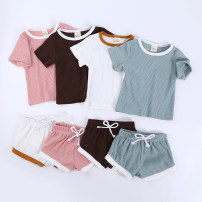 suit Kids Tales neutral summer Europe and America Short sleeve + pants 2 pieces Thin money There are models in the real shooting Socket nothing other cotton children Expression of love Class B Cotton 95% other 5% 6 months, 12 months, 9 months, 18 months, 2 years, 3 years, 4 years