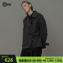 Jacket Visionary Youth fashion black S M L XL 2XL XS routine easy Other leisure autumn HWSL8530 Cotton 60% polyamide 40% Long sleeves Wear out Lapel tide youth routine Single breasted Cloth hem Loose cuff Solid color Autumn of 2018 Button decoration Bag digging with open cut thread cotton