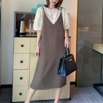 Dress Summer 2021 Blue, brown M, L Mid length dress Two piece set Short sleeve commute Crew neck Loose waist Solid color Socket A-line skirt puff sleeve camisole Type A CATHYLADI / Cass · Lardy Korean version Pockets, beads, stitching, tassels C041306M 51% (inclusive) - 70% (inclusive) other other