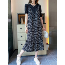 Dress Summer 2021 black Average size Mid length dress Two piece set Long sleeves commute Crew neck High waist Broken flowers Socket A-line skirt routine Others Type A CATHYLADI / Cass · Lardy lady T040607C 51% (inclusive) - 70% (inclusive) other other