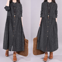 Dress Autumn 2020 black M [recommended 120 kg], l [recommended 120-135 kg], XL [recommended 135-150 kg], 2XL [recommended 150-170 kg] longuette singleton  Long sleeves commute Crew neck Loose waist lattice Single breasted Big swing routine Type H Korean version 51% (inclusive) - 70% (inclusive)