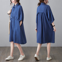 Women's large Summer 2021 Blue, black L [100-150 Jin recommended], XL [150-200 Jin recommended] Dress singleton  commute easy moderate Socket elbow sleeve Solid color literature Polo collar polyester Three dimensional cutting routine W0329 31% (inclusive) - 50% (inclusive) Medium length
