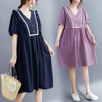 Dress Summer 2021 Purple, Navy L [recommended 100-120 kg], XL [recommended 120-140 kg], 2XL [recommended 140-160 kg] Middle-skirt singleton  Short sleeve commute V-neck Loose waist Solid color A-line skirt other Type A literature 51% (inclusive) - 70% (inclusive) polyester fiber