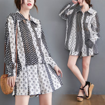 Women's large Summer 2021 Picture color L [100-150 Jin recommended], XL [150-200 Jin recommended] Other oversize styles Two piece set commute easy thin Cardigan Long sleeves Dot literature Polo collar routine polyester fiber Three dimensional cutting routine S0325W Asymmetry shorts