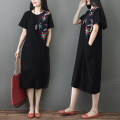 Dress Summer 2021 black M [suggested 100-115 kg], l [suggested 115-130 kg], XL [suggested 130-145 kg], 2XL [suggested 145-160 kg] Mid length dress singleton  Short sleeve commute Crew neck Loose waist Solid color Socket A-line skirt routine Type A literature printing S0316W polyester fiber
