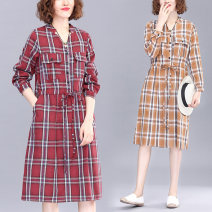 Women's large Spring 2021 Red, green, yellow M [recommended 80-100 kg], l [recommended 100-120 kg], XL [recommended 120-140 kg], 2XL [recommended 140-160 kg] Dress singleton  commute easy moderate Socket Long sleeves lattice literature stand collar Polyester, cotton Three dimensional cutting routine