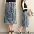 Women's large Autumn of 2019 Light blue, dark blue L [recommended 95-125 kg], 2XL [recommended 125-170 kg] skirt singleton  commute easy moderate Plants and flowers literature Polyester, cotton W0419 Embroidery 31% (inclusive) - 50% (inclusive) Medium length other