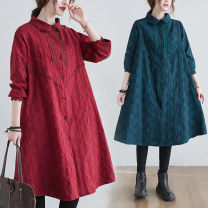 Dress Spring 2021 Red, green M [suggested 100-120 kg], l [suggested 120-140 kg], XL [suggested 140-160 kg], 2XL [suggested 160-180 kg] Mid length dress singleton  Long sleeves commute Polo collar Loose waist Solid color Single breasted A-line skirt routine Type A literature pocket W0302