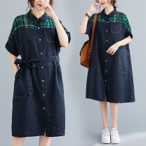 Women's large Summer 2021 Picture color XL [recommended 100-150 kg], 2XL [recommended 150-200 kg] Dress singleton  commute easy thin Cardigan Short sleeve Plaid, solid literature Polo collar polyester Three dimensional cutting routine H0622SW belt 51% (inclusive) - 70% (inclusive) Medium length other