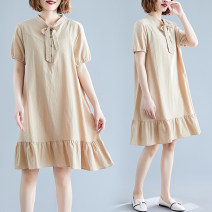 Dress Summer 2021 Shallow card Mid length dress singleton  Short sleeve commute V-neck Loose waist Solid color routine Type A literature Bandage W0306 51% (inclusive) - 70% (inclusive)