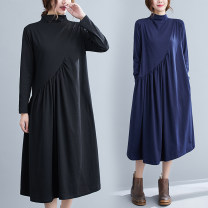 Women's large Winter 2020, autumn 2020 Dark blue, black L [recommended 100-120 kg], XL [recommended 120-140 kg], 2XL [recommended 140-160 kg] Dress singleton  commute easy moderate Socket Long sleeves Solid color literature Half high collar Polyester, cotton Three dimensional cutting routine S0917W