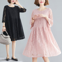 Dress Spring 2021 Black, pink L [recommended 100-135 kg], XL [recommended 135-170 kg] Middle-skirt singleton  three quarter sleeve commute Crew neck Solid color routine literature Lace stitching S0109T 51% (inclusive) - 70% (inclusive)
