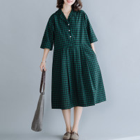 Women's large Summer 2021 Green Grid M [recommended 100-125 kg], l [recommended 125-150 kg], XL [recommended 150-175 kg], 2XL [recommended 175-200 kg] Dress singleton  commute easy thin Socket elbow sleeve lattice literature other polyester routine H0508 Button 51% (inclusive) - 70% (inclusive)