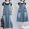 Dress Summer 2021 blue M [suggested 100-115 kg], l [suggested 115-130 kg], XL [suggested 130-145 kg], 2XL [suggested 145-160 kg] Mid length dress singleton  Sleeveless commute Crew neck Loose waist Solid color A-line skirt straps Type A literature H0617W 31% (inclusive) - 50% (inclusive) Denim