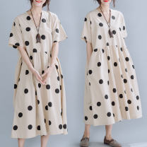 Women's large Summer 2021 Picture color L [100-150 Jin recommended], XL [150-200 Jin recommended] Dress singleton  commute easy moderate Socket Short sleeve Dot literature V-neck polyester printing and dyeing routine B0514 pocket 51% (inclusive) - 70% (inclusive) Medium length