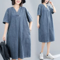 Dress Summer 2020 blue M [suggested 100-115 kg], l [suggested 115-130 kg], XL [suggested 130-145 kg], 2XL [suggested 145-160 kg] Mid length dress singleton  elbow sleeve commute V-neck Loose waist Solid color Socket routine literature S0613X 31% (inclusive) - 50% (inclusive) Denim