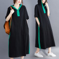 Women's large Summer 2021 Picture color L [recommended 100-155 kg], XL [recommended 155-210 kg] Dress singleton  commute easy moderate Socket Short sleeve Solid color literature Hood Polyester, cotton Three dimensional cutting routine S0326W 31% (inclusive) - 50% (inclusive) Medium length