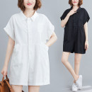 Women's large Summer 2021 White, black L [recommended 110-170 kg], XL [recommended 170-230 kg] Other oversize styles singleton  commute easy thin Conjoined Short sleeve Solid color literature Polo collar polyester Bat sleeve H0704 pocket 51% (inclusive) - 70% (inclusive) shorts