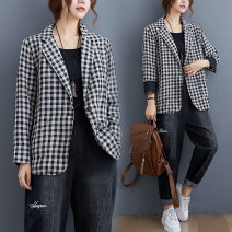 Women's large Spring 2021 Picture color M [recommended 100-125 kg], l [recommended 125-150 kg], XL [recommended 150-175 kg], 2XL [recommended 175-200 kg] Jacket / jacket singleton  commute easy moderate Cardigan Long sleeves lattice literature other routine Polyester, cotton Three dimensional cutting